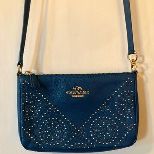 Coach Studded Teal and Gold Crossbody Purse